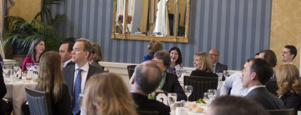 A group of Lauder Institute alumni attending an event by the Lauder Institute Alumni Association.