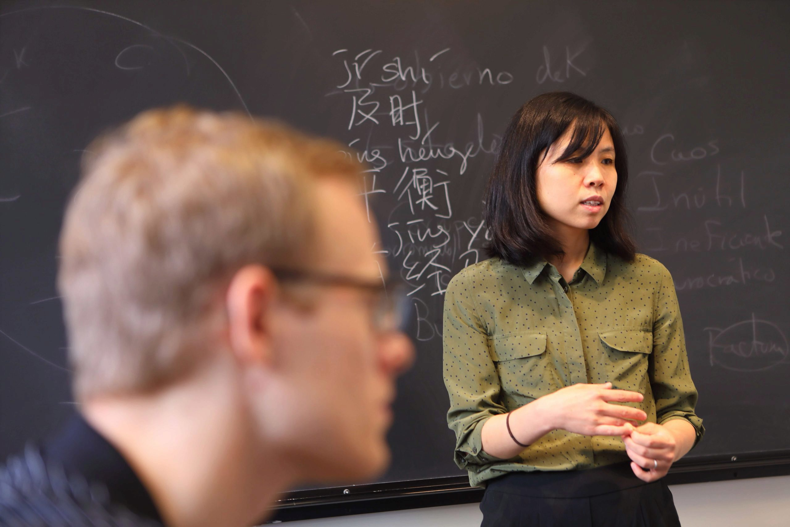 A student and faculty member have a conversation.